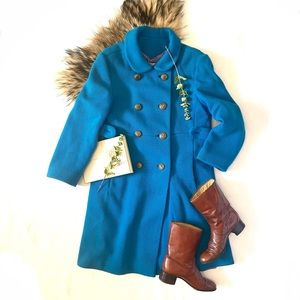 Vintage | Peacock Blue Double Breasted Coat